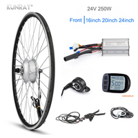KUNRAY E Bike Conversion Kit 24V 250W Front Motor Wheel 24 20 16 inch Electric Bicycle Gear Hub Motor With KT LCD3 LED Display