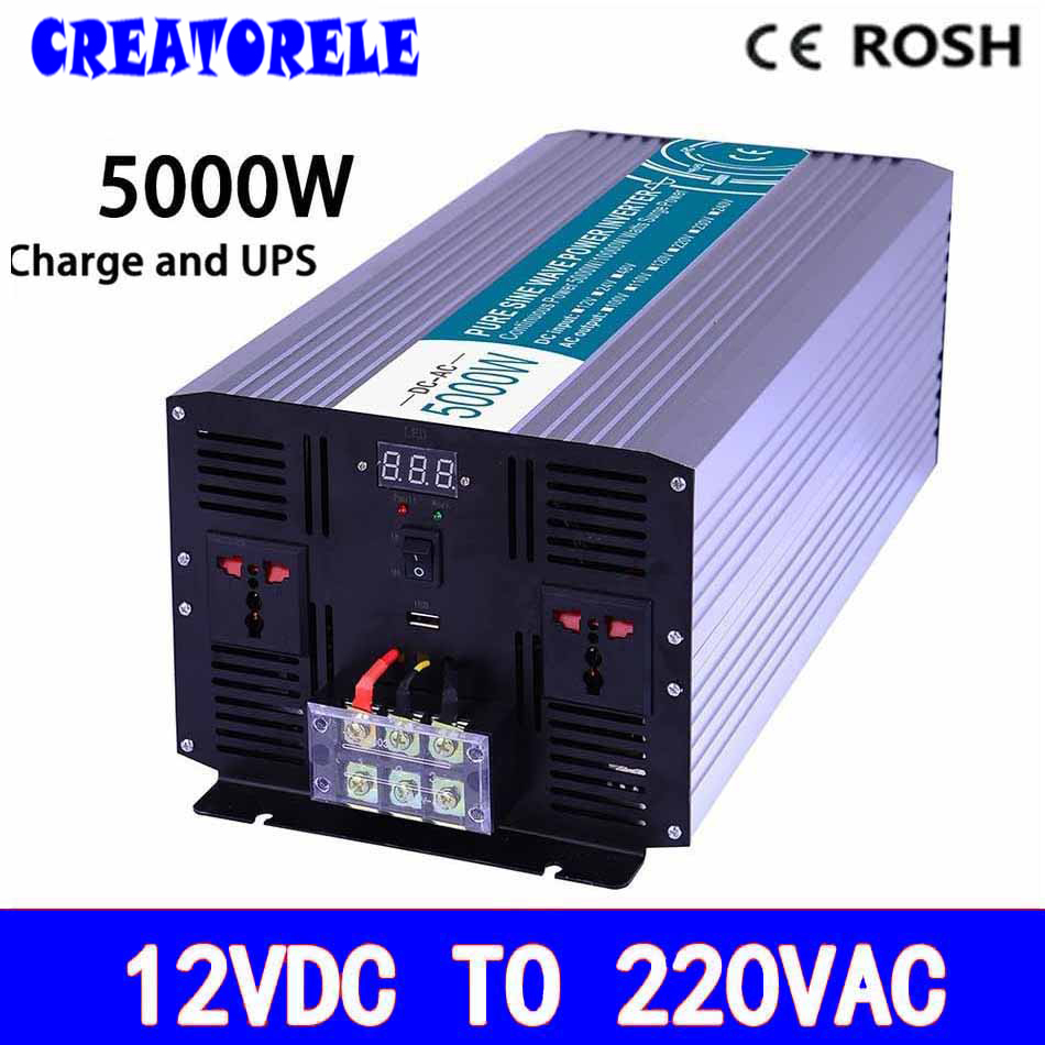 P5000-122-C Pure Sine Wave off grid UPS iverter 5000w 12v to 220v soIar iverter voItage converter with charger and UPS 5000w dc 48v to ac 110v charger modified sine wave iverter ied digitai dispiay ce rohs china 5000 481g c ups