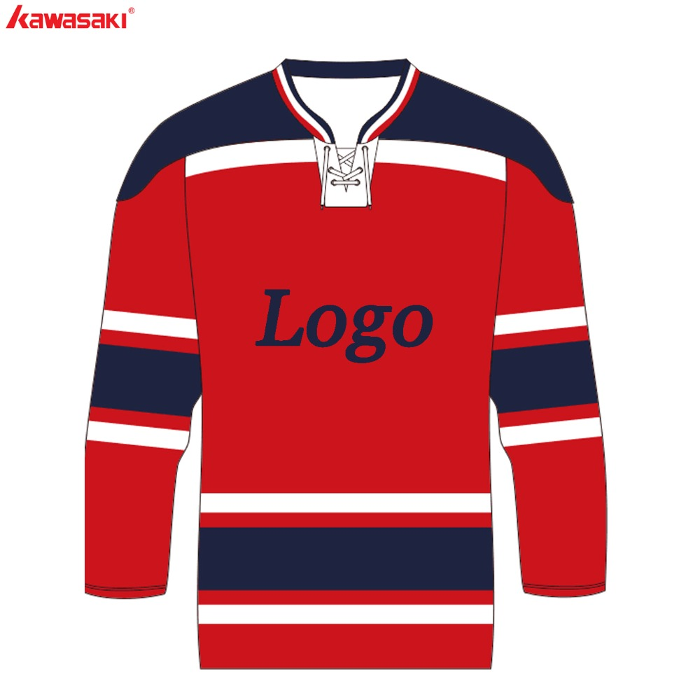 689a5be75 Kawasaki Brand Sublimation Custom Ice Hockey Jersey Men Youth V-Neck With  Rope Red White Training Hockey Shirt Jerseys For Match