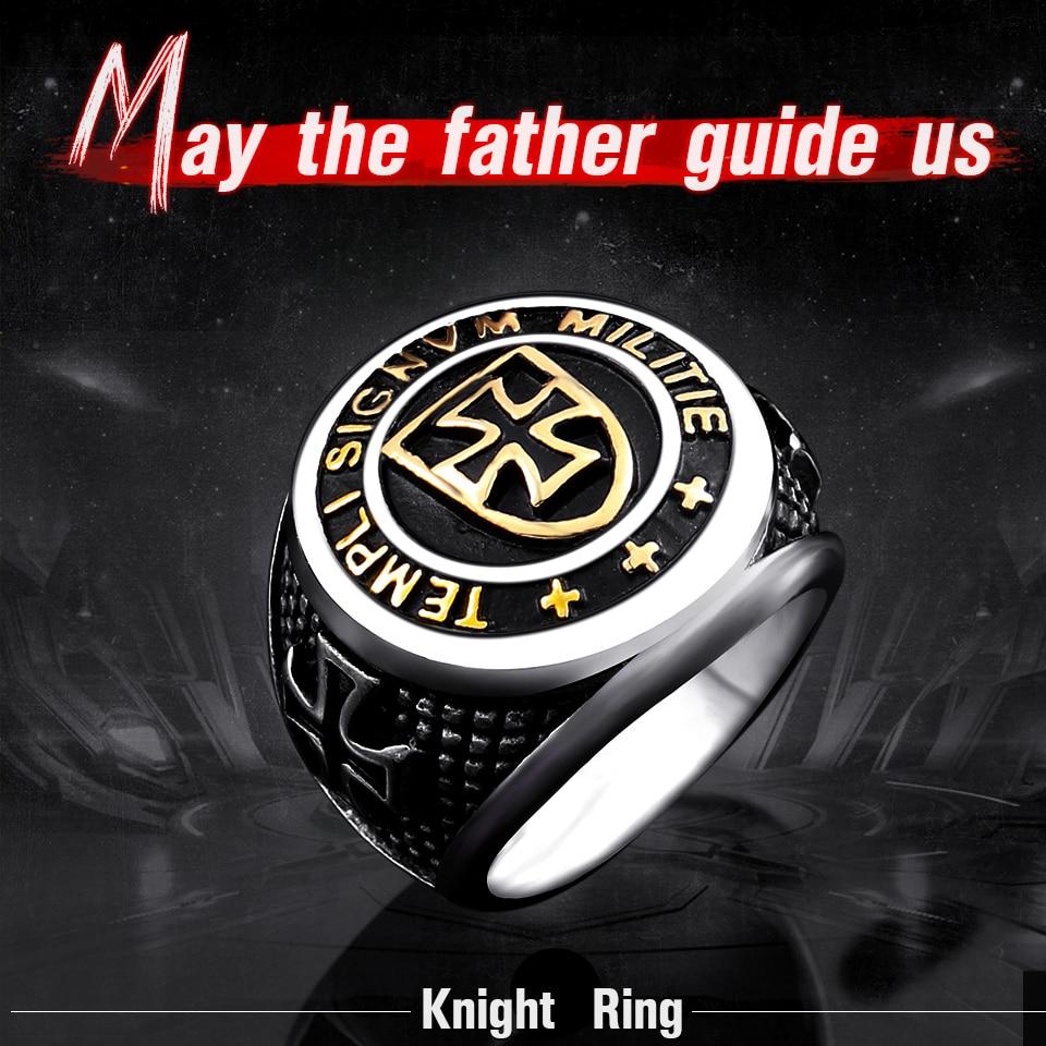 Kedatangan baru lintas ksatria Templar cincin, Pria stainless steel - Perhiasan fashion - Foto 2