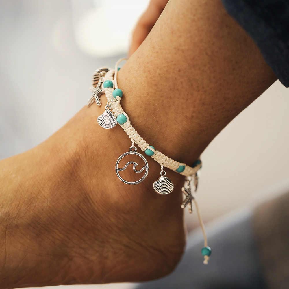 2019 新ボヘミアンヒトデ石アンクレット女性ヴィンテージハンドメイド波アンクレットブレスレット脚にビーチオーシャン宝石
