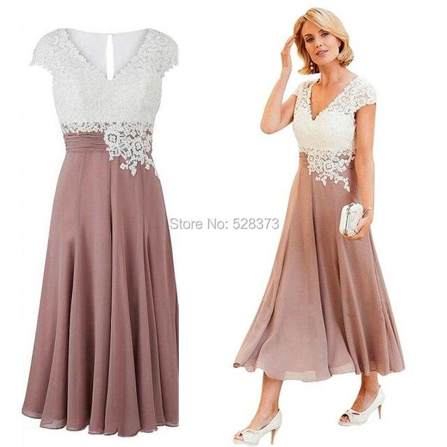 0a20b510d YNQNFS MD106 verano partido vestido Formal Cap mangas dos colores gasa  Madre de la novia viste la longitud del té 2019