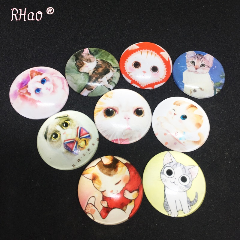 RHao Cute Cat brooches pins 3pcs/lot Lovely Women Girls Glass pet Cats animal Brooches men clothes collar suit hats jewelry clip