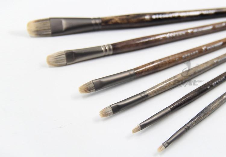 6pcs/set Ferret Badger Hair Quality Northeast Birch Rod Gouache King Paintbrush Oil Paint Brush Artist Professional Art Supplies