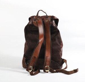 Image 5 - Warzyw skóry wołowej garbowanej męska plecak mężczyzna Retro torba o dużej pojemności mężczyźni wiadro podróży plecaki nowy oryginalny 2020