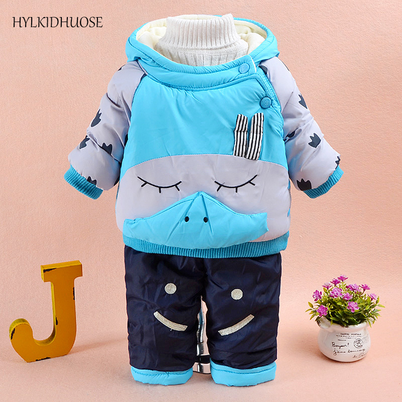 HYLKIDHUOSE 2017 Baby Girls Boys Winter Clothes Suits Warm Thick Coats+Pants Infant/Newborn Suits Outdoor Children Kids Suits toddler girls hello kitty clothes set winter thick warm clothes plus velvet coat pants rabbi kids infant sport suits w133