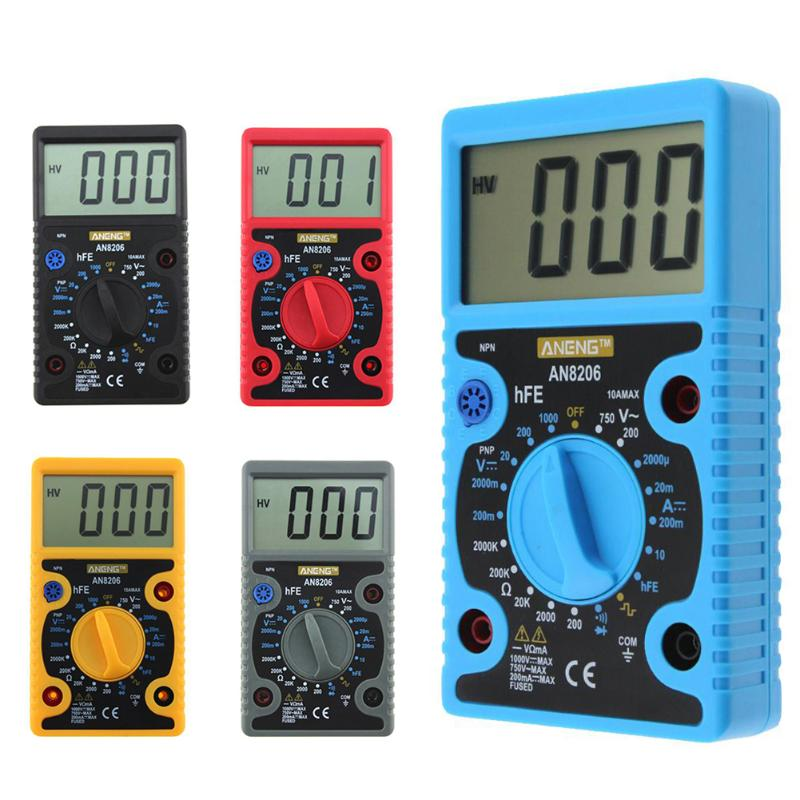 AN8206 Mini LCD Digital Multimeter Large Screen Buzzer Square Wave Output Overload protection AC/DC Volt Amp Ohm Meter Tester