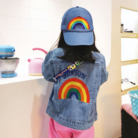 2019 Autumn Jeans Jackets For Girls Rainbow Embroidery Kids Denim Coat For Girl Clothing Fashion Baby Boy Jeans Jacket And Coat
