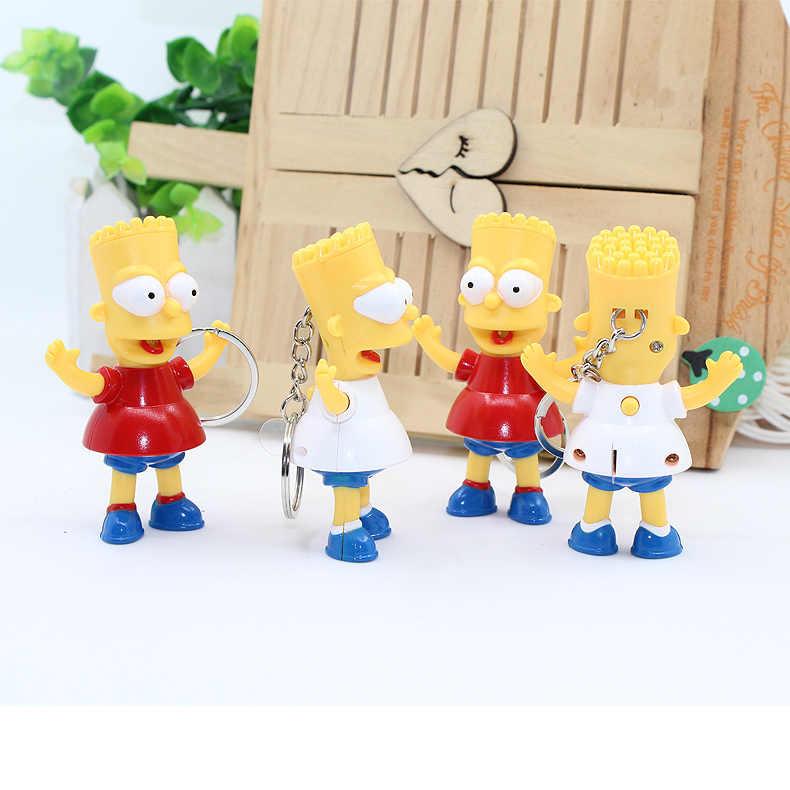 Cổ điển Comic Anime Đồ Trang Sức Phim Hoạt Hình Hình Đồ Chơi Bart Simpson LED Keychain Mặt Dây đính Đèn Pin Âm Thanh Dây Móc Khóa đồ chơi quà tặng
