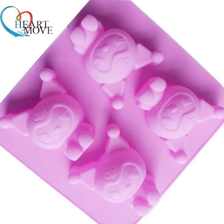 HEARTMOVE kek tasarım karikatür serisi 4 kavite kuromi mini kek silikon Bakeware kek dekorasyon silikon yapışmaz kalıp 9537