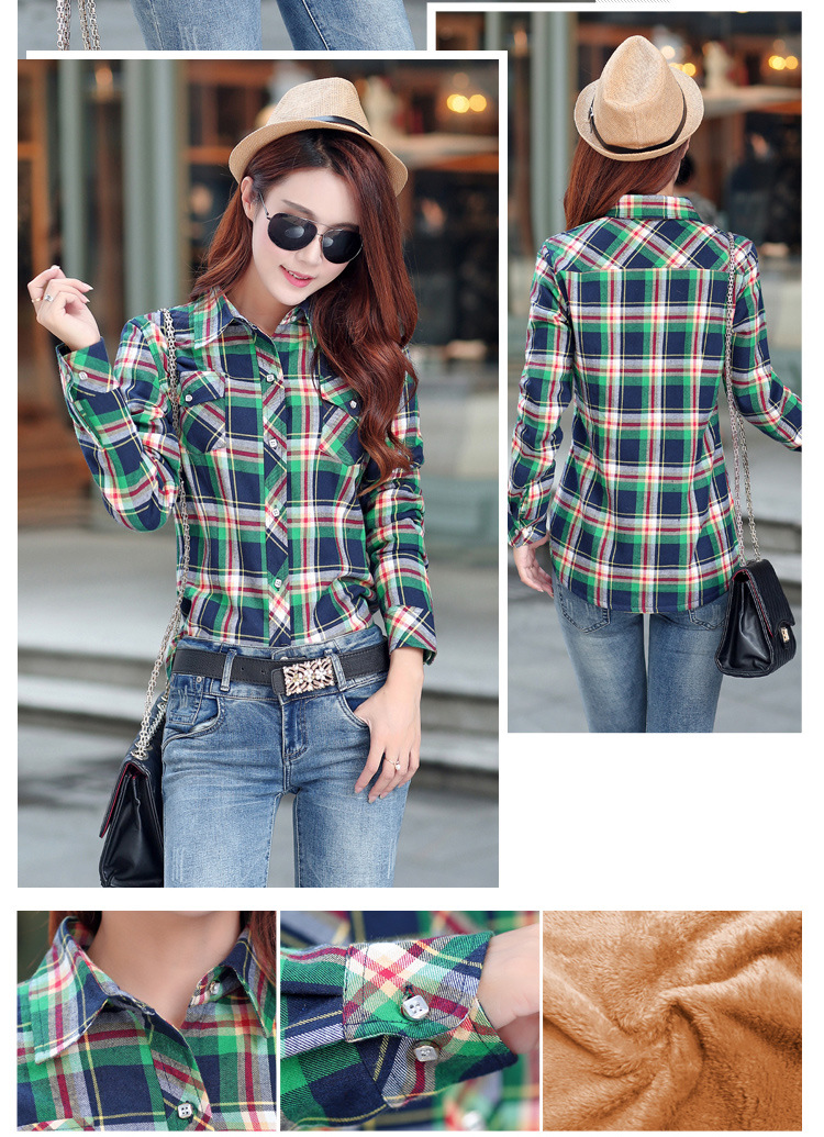 19 Brand New Winter Warm Women Velvet Thicker Jacket Plaid Shirt Style Coat Female College Style Casual Jacket Outerwear 29