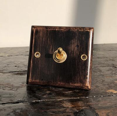 Wood Switch Vintage Copper Pole Type 86 Wall Switch Panel Light Switch 10A 110V- 250V