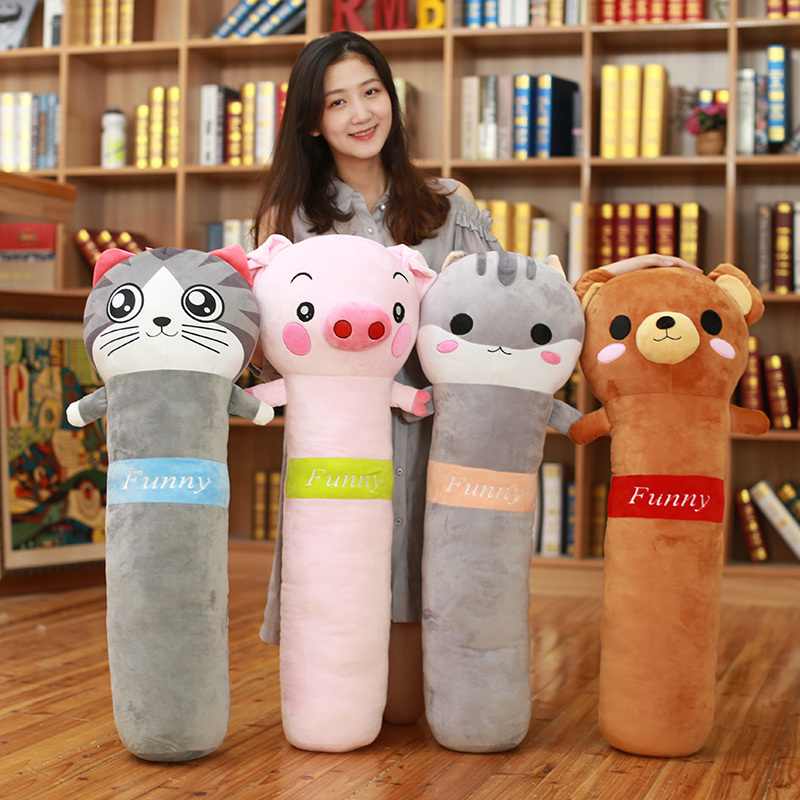 Dorimytrader new animals sleeping pillow long strip pillows doll cartoon toys bed cushion for children gift