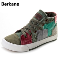 Step Far Spring High Canvas Shoes To Help Female Korean Tide Spell Color Shoes Beggar Patch