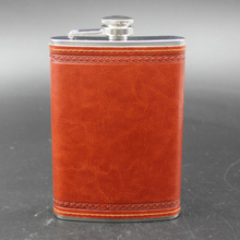 High Quality 9oz Stainless Steel Hip Flasks Flagon Liquor Whiskey Wine Pot Leather Cover Bottle Portable Outdoor Men Flask