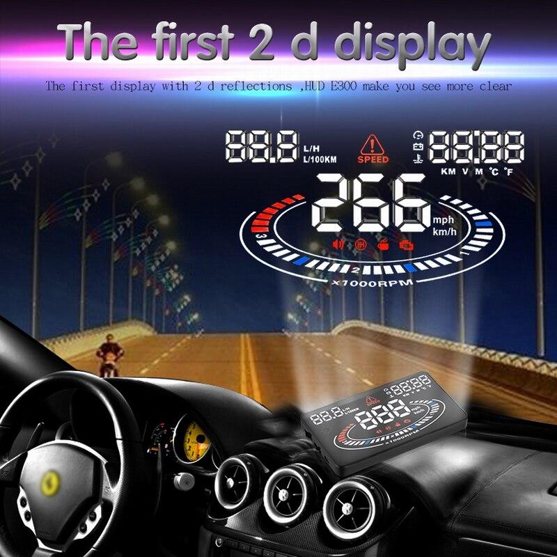Pour les voitures d'interface OBD2 faites 2009-maintenant projecteur de vitesse de voiture sur pare-brise Auto Hud E300 affichage tête haute compteur de vitesse de voiture numérique