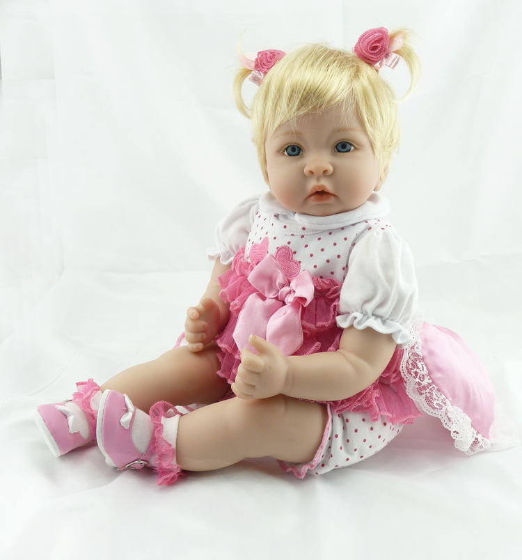 Reborn Baby Doll 22 inch 55 cm Silicone Vinyl Girl Doll Blond Hair Soft Cloth Body Alive <font><b>toddler</b></font> Baby Chiristmas Gift for Kids image