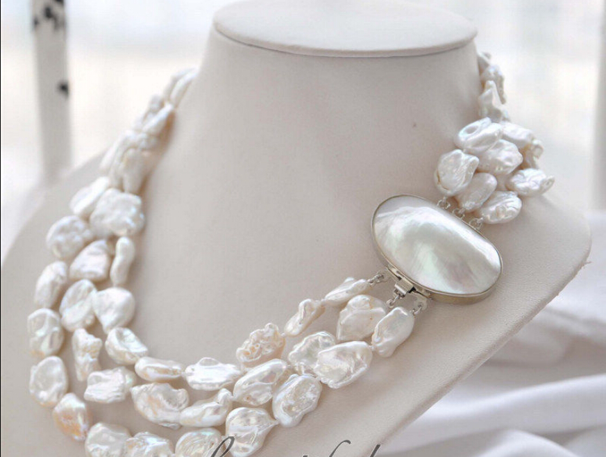 fast z4959 3strands 19mm BAROQUE white KESHI REBORN PEARL NECKLACE mabe clasp NEW perry ellis spirited туалетная вода 100 мл