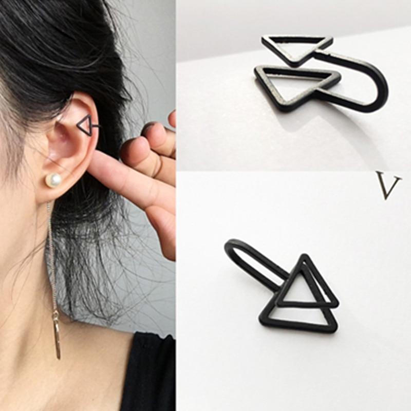 Ear Cuff Wrap Earrings Jewelry Piercing Clip On Earrings Triangle Cartilage Clip Diy Settings Black Color Пирсинг ушей