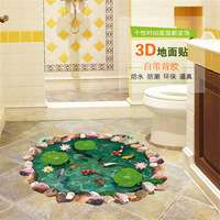 10pcs/Pack Fish Pond Lilypad 3D 4D Floor Wall Sticker Decal Decor Art Mural Children Bathroom DIY