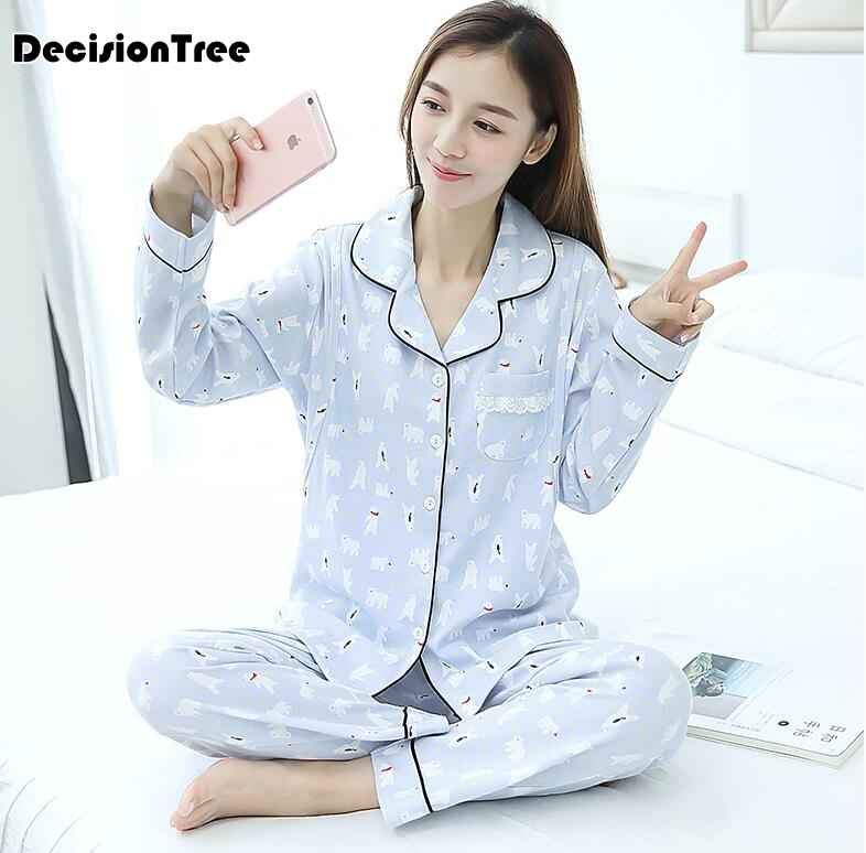 2019 new nursing clothes maternity pajamas cotton pregnant pajama set maternity long sleeve tops&pants sleepwear