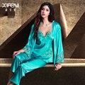 XIFENNI Imitation Silk Pajamas Female Three-Piece Pyjama Sets Gem Green Embroidery V-Neck Lace Women Sleepwear 8304