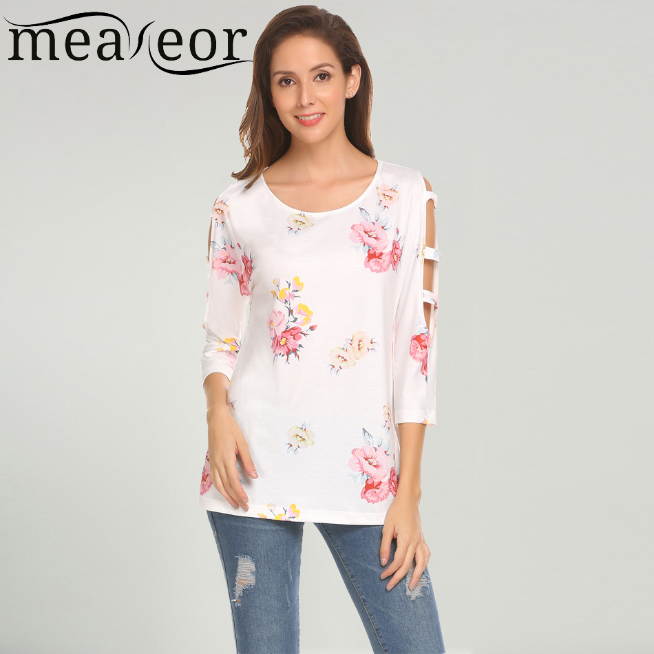 Meaneor de Femmes Casual O-cou Trois Manches Trimestre Floral Fleur Out Épaule T-shirt 2018 Printemps Nouveau Mode Féminine T-shirt Top