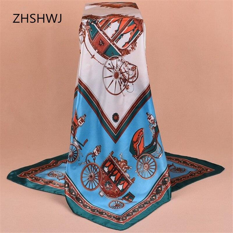 [ZHSHWJ] 90*90 СМ женщин шарф перевозки pattern шаль роскошные большой площади платок леди украшения Hijabsatin шарф