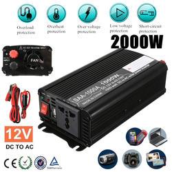 1000 Вт Солнечный Мощность инвертор 12 В постоянного тока до 110 В AC макс 2000 ВАТТ Модифицированная синусоида автомобилей зарядки конвертер
