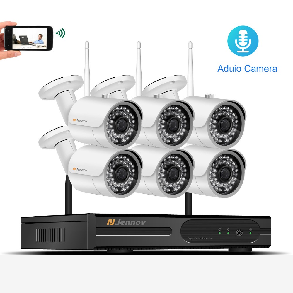 6CH CCTV Kit 1080P Wireless CCTV Security IP Camera System With NVR Wifi Video Audio Record Home Outdoor Surveillance Set Camera 6ch poe 1080p 2mp audio record home security camera with led light video surveillance system kit cctv set nvr outdoor ipcam ir