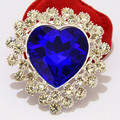 Cheap Retail Silver Tone Big Blue Heart Crystal Luxury Brooch Womne Corsage For Wedding Hot Selling Women Detailed Pins Brooches