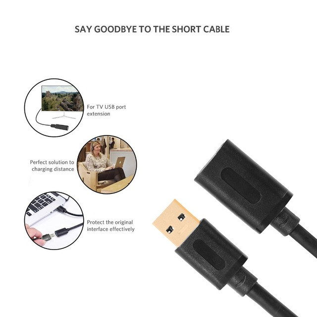 Rovtop USB Extension Cable USB 3.0 Cable For Smart TV PS4 One SSD USB3.0 2.0 to Extender Data Cord Mini USB Extension Cable