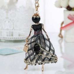 Colar de boneca de flor de instrução vestido artesanal boneca francesa pingente 2020 notícias liga menina feminino colar moda jóias