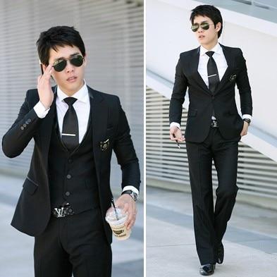 2016 новое прибытие терно masculino, высокое качество атласная полосатый Тонкий вскользь костюмы из двух частей куртка + брюки плюс размер