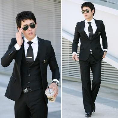 2016 new arrival terno masculino, high quality satin striped Slim casual suits two-piece jacket+pants plus size