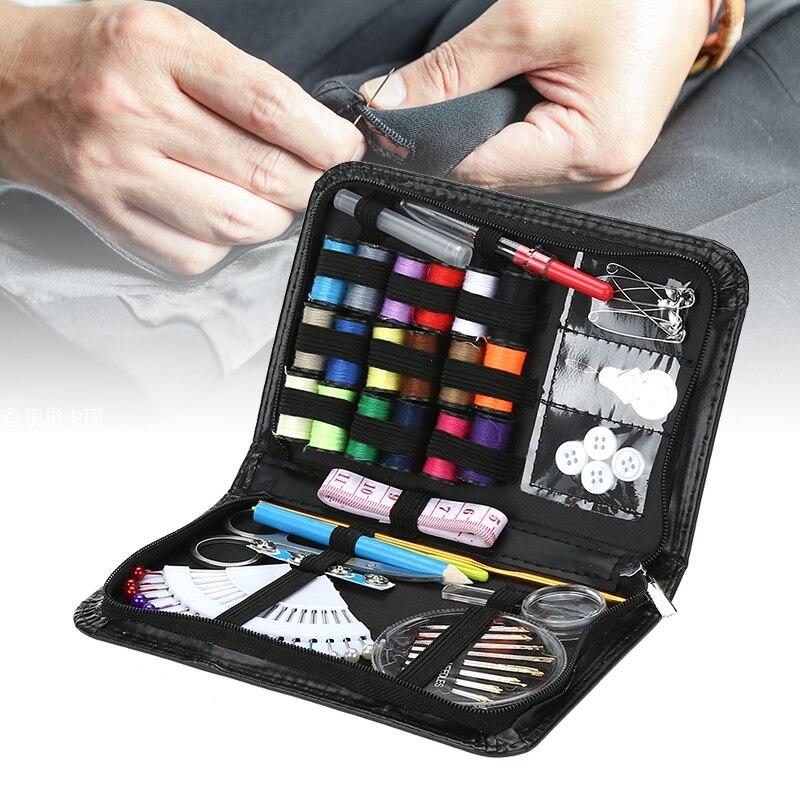 91 unids/set Mini portátil de coser caja de viaje de coser Kit de bolsas de almacenamiento artículos organizador casa accesorios de costura