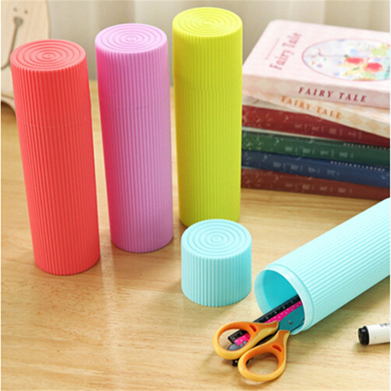New Portable Stripe Toothpaste Toothbrush Pen Stationery Holder Cover Case Cylindrical Protect Case For Traveling And Daily Use image