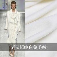 150 cm de largura e 420 g/m cony cabelo de cor branco puro tecidos de materiais de lã inverno do sobretudo roupas DIY Freeshipping