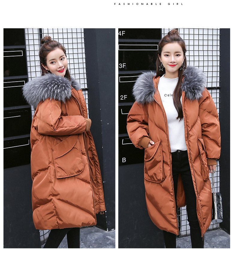 Maternity winter coat Pregnant women pregnant women cotton coat large size coat tide tan collar collar long hooded jacket