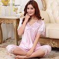 New designer silk pajamas hollow out lace ladies large size sexy lingerie sleepwear short sleeve v neck costumes night suit