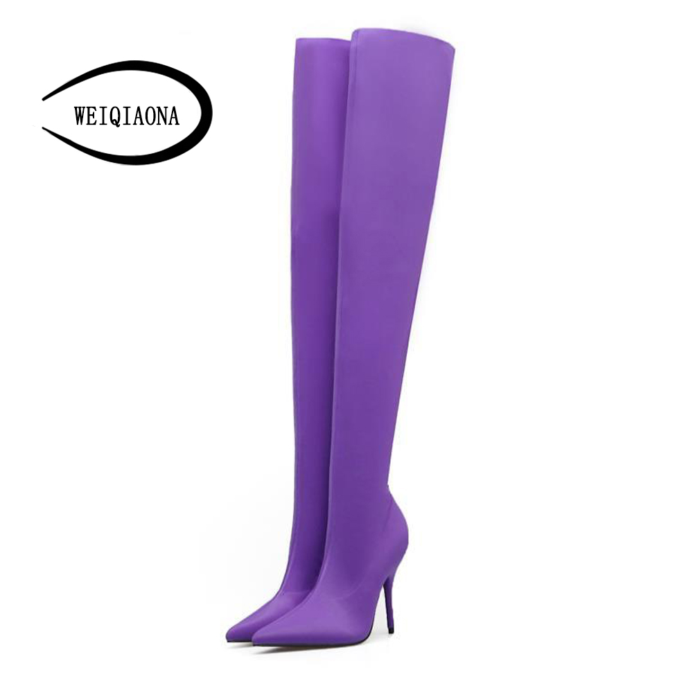 WEIQIAONA 2018 Ladies winter boots fashion sexy thin legs multi-color Elastic cloth high heel boots thigh high boots womens