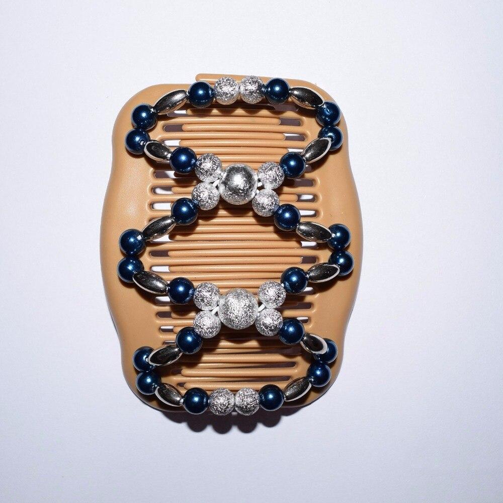 2018 20pcs/lot fashion blue silver beads beautiful luxury new year magic comb