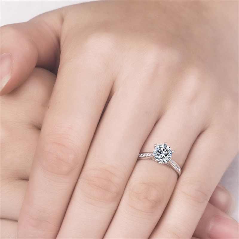YHAMNIคลาสสิก6กรงเล็บแหวนแต่งงานสำหรับผู้หญิง100%ของแข็ง925แหวนเงิน1 CTเพทายCZ D Iamantแหวนหมั้นARY11