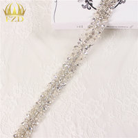 (10yards) Wholesale 1 Yard Handmade Sew On Hot Fix Beaded Wedding Applique Trim for Bridal Sash Dresses Garments Accessories