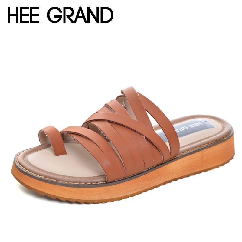 HEE GRAND Split Leather Flip Flops 2017 New Slippers Platform Shoes Woman Summer Casual Creepers Flats