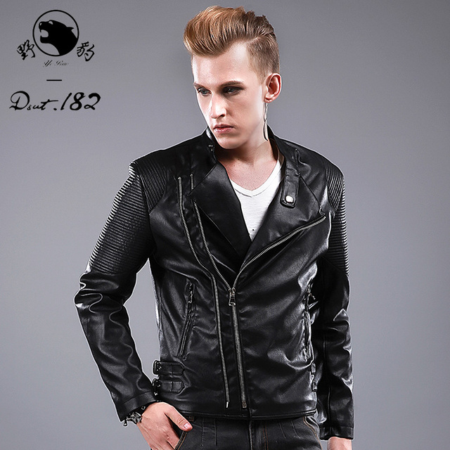 HOT 2015 Autumn and winter new brand casual leather clothing PU leather jacket outerwear men's oblique zipper punk Costumes coat