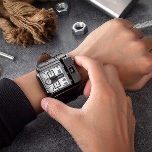 Image 5 - OULM العلامة التجارية HP3364 الأصلي تصميم فريد مربع الرجال ساعة اليد واسعة الطلب الكبير حزام من الجلد عادية ساعة كوارتز reloj hombre