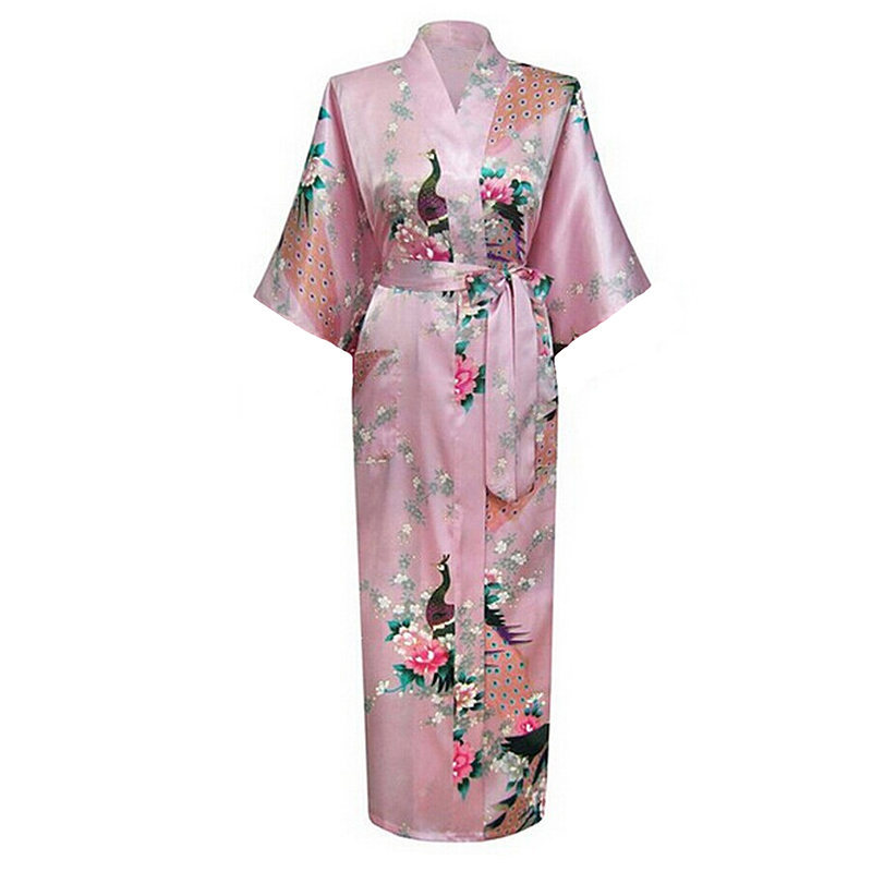 Pink Chinese Womens Silk Rayon Robe Kimono Bath Gown Long Summer Nightgown Mujer Pijama Plus Size S M L XL XXL XXXL Zh01L