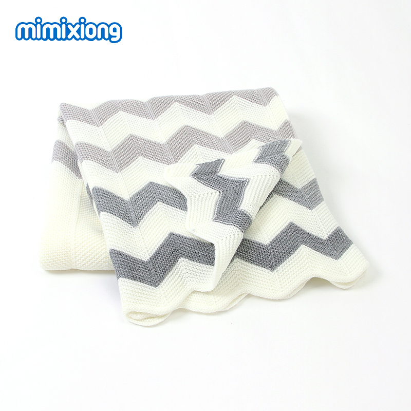 Baby Blankets Knitted Newborn Swaddle Wrap Envelopes Stripe Infant Basket Blanket Summer Air Conditioning Toddler Bedding Quilts