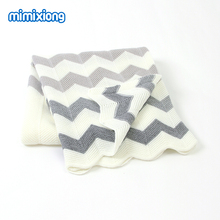 Newborn Super Soft Swaddle Wrap Blankets Stripe Knitted Infant Baby Basket Blanket Summer Air Conditioning Toddler Bedding Quilt